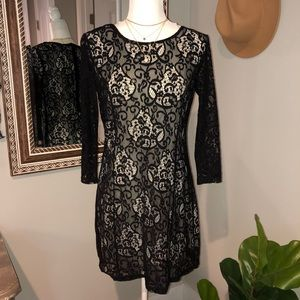 5th Culture | Black with Cream Lining, Lace Dress